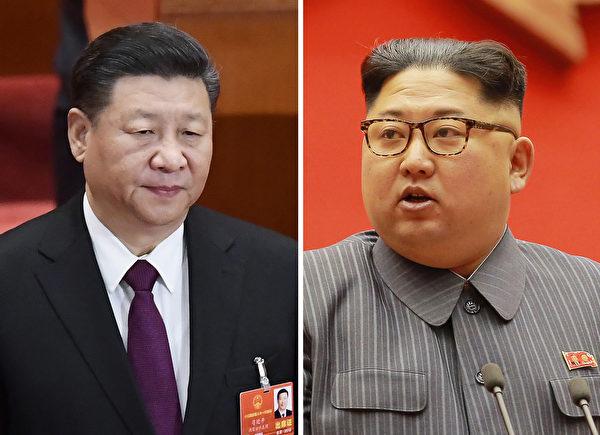 圖為中國國家主席習近平(左)和北韓最高領導人金正恩(右)。(AFP)