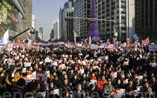 组图:首尔民众大规模抗议金英哲访韩