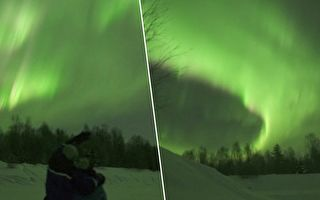 芬蘭上演罕見北極光大戲 白粉綠交織現異彩