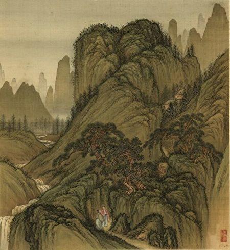 圖為清金玠《壽同山岳冊.幽徑對談》,台北國立故宮博物院藏。(公有領域)