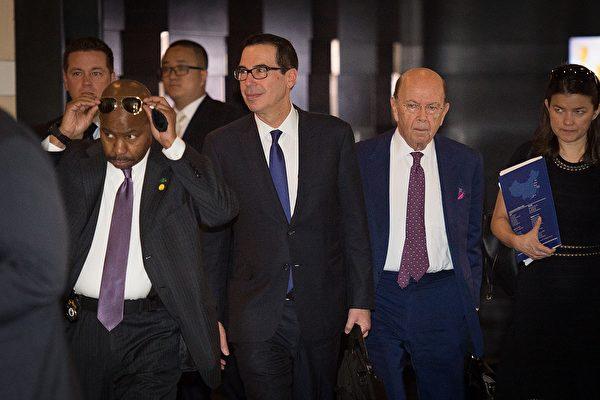 中美首輪談判,美方由財長梅努欽率團到北京。會談結束後,媒體報道稱,中美之間的一些關鍵貿易分歧仍未解決,但雙方同意繼續保持對話。(AFP PHOTO/NICOLAS ASFOURI)