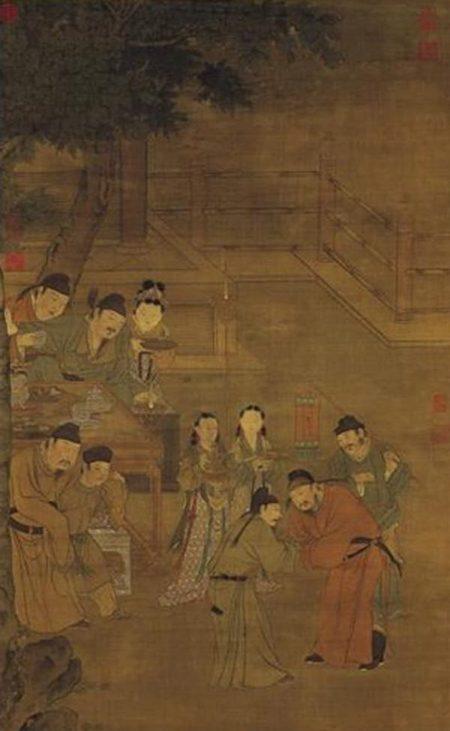 有一年春天,唐玄宗舉行宴會,他將自己使用的金筷子賜給宋璟。圖為《明人五王醉歸圖》。(公有領域)