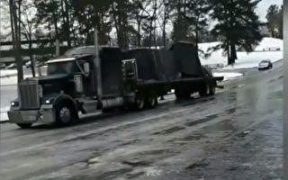 這台18輪卡車以為他會成功 沒想到路面結冰超滑