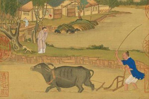 图为清 冷枚《耕织图册.耕》,台北国立故宫博物院藏。(公有领域)