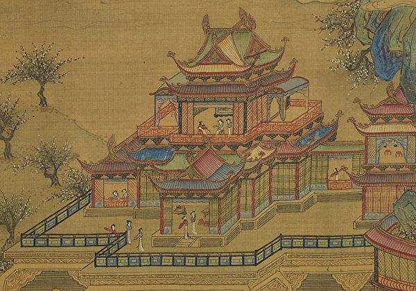 刘聪册立刘娥为皇后,准备为她建造一座宫殿。图为(传)明 仇英《 长信宫词》。(公有领域)