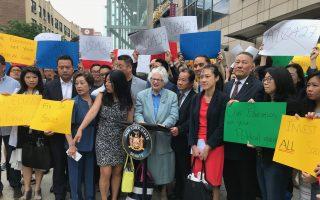 华人法拉盛抗议   强烈反对废SHSAT