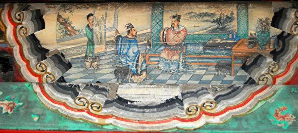 根據《三國演義》中隆中對情節繪製的頤和園長廊彩繪。(公有領域)