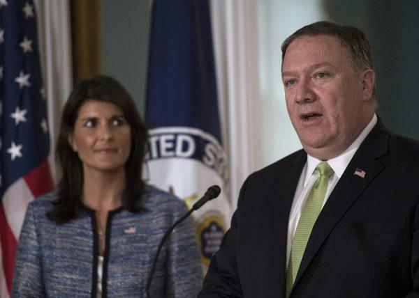 2018年6月19日美國宣佈退出聯合國人權理事會,美國駐聯合國大使海利和美國國務卿蓬佩奧在一個聯合記者會上宣佈了這個決定。 (Andrew CABALLERO-REYNOLDS / AFP)