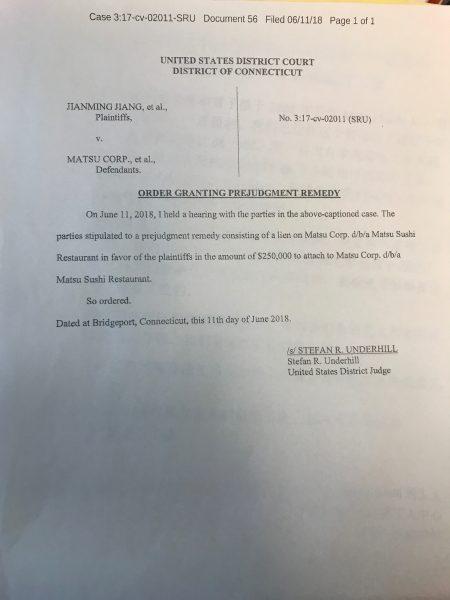 法官出具以餐館留置權作擔保25萬元保證日後若工人勝訴將得到補償的法庭文件。