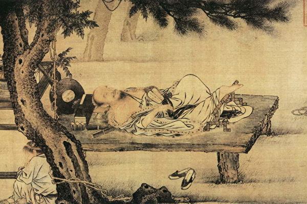 一天夜裡,詹某在一神廟裡過夜,並作了一個夢。圖為宋 劉貫道《夢蝶圖》。(公有領域)