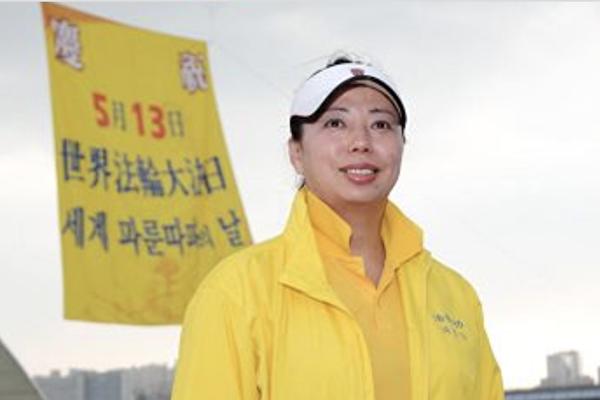 2017年5月13日,前奧運游泳名將黃曉敏表示懷著一顆感恩的心來參加慶祝「世界法輪大法」的歡慶活動。(明慧網)