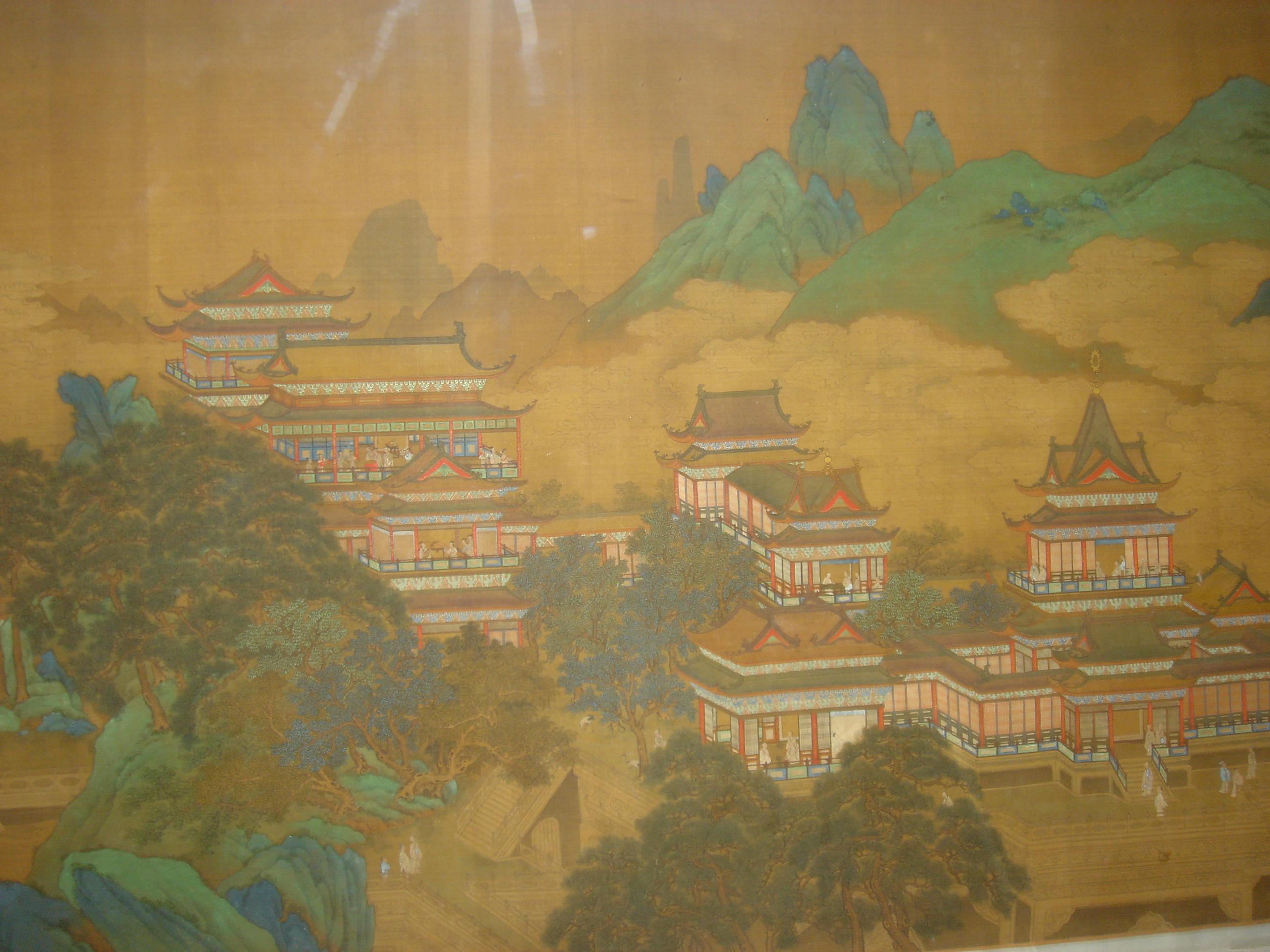 武則天篡政以後,京師王公貴族、公主駙馬等住宅修建得越來越高大華麗。此圖為明代繪畫,描繪西王母居住在一個用美玉雕琢而成的晶瑩剔透的九重宮殿裡。(公有領域)