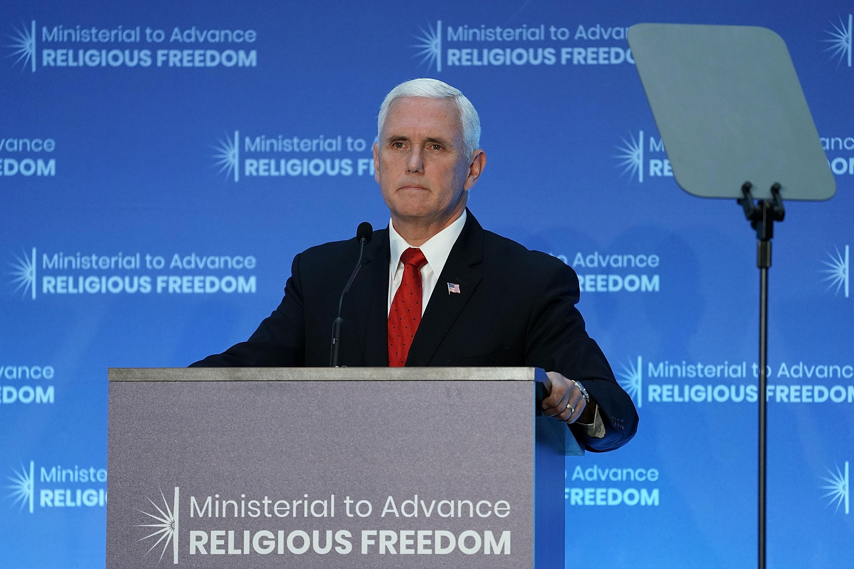 2018年7月26日,美國副總統彭斯在首屆全球部長級會議上做主題發言,強調各國應維護宗教自由。(Alex Wong/Getty Images)