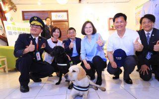 视察光复新村NGO 蔡英文与搜救犬相见欢