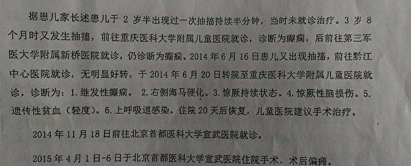 2014年6月,石翠红的二次出现癫痫大发作。(石翠红提供)