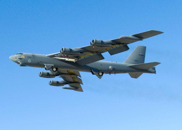 美軍「B-52」同溫層堡壘戰略轟炸機。 (HO / US AIR FORCE / AFP)