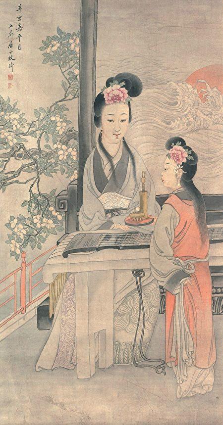 楚王巡遊的消息迅速傳開。有一個縣邑的女兒名叫莊姪,時年12歲。她聽說此事後,對母親說:「我想去勸諫大王。」圖為清 改琦《古箏美人》。(公有領域)