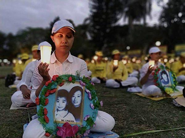 峇里岛部分法轮功学员举行烛光悼念,纪念被迫害致死的法轮功学员。(Pak Sumi提供)