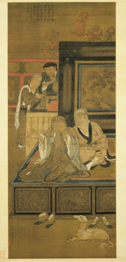 据民间记载传说,关于顺治帝的生平还有另一个版本:顺治皇帝离开皇宫,出家为僧,为顺治皇帝的去向蒙上神秘色彩。图为宋 刘松年《补衲图》。(公有领域)