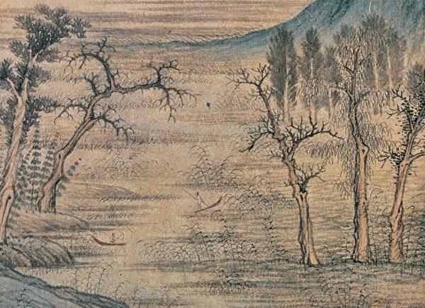 元· 赵孟頫《鹊华秋色图》两株枯树 左为蟹爪枝 右为鹿角枝(公有领域)