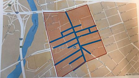 橙色部分為法拉盛中心區禁一般流動攤檔的範圍;藍色部分為法拉盛中心區禁流動食品攤檔的範圍。