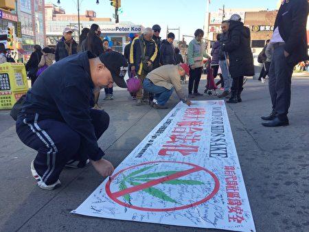 過路的華人紛紛簽名,表達抵制紐約州大麻合法化。