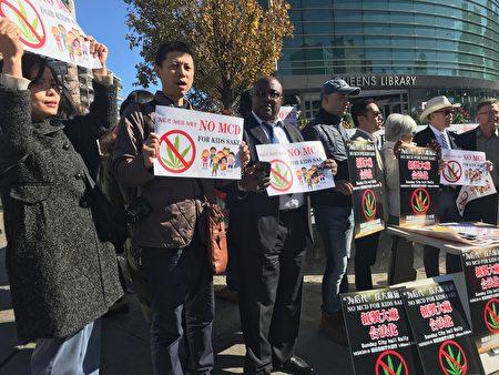 華人參與集會,抵制紐約州大麻合法化。