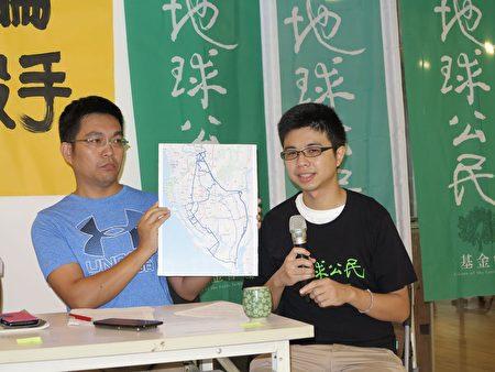 地球公民基金会专员陈泉潽(右)指出,大社工业区违规排放空污,危害民众健康甚钜。