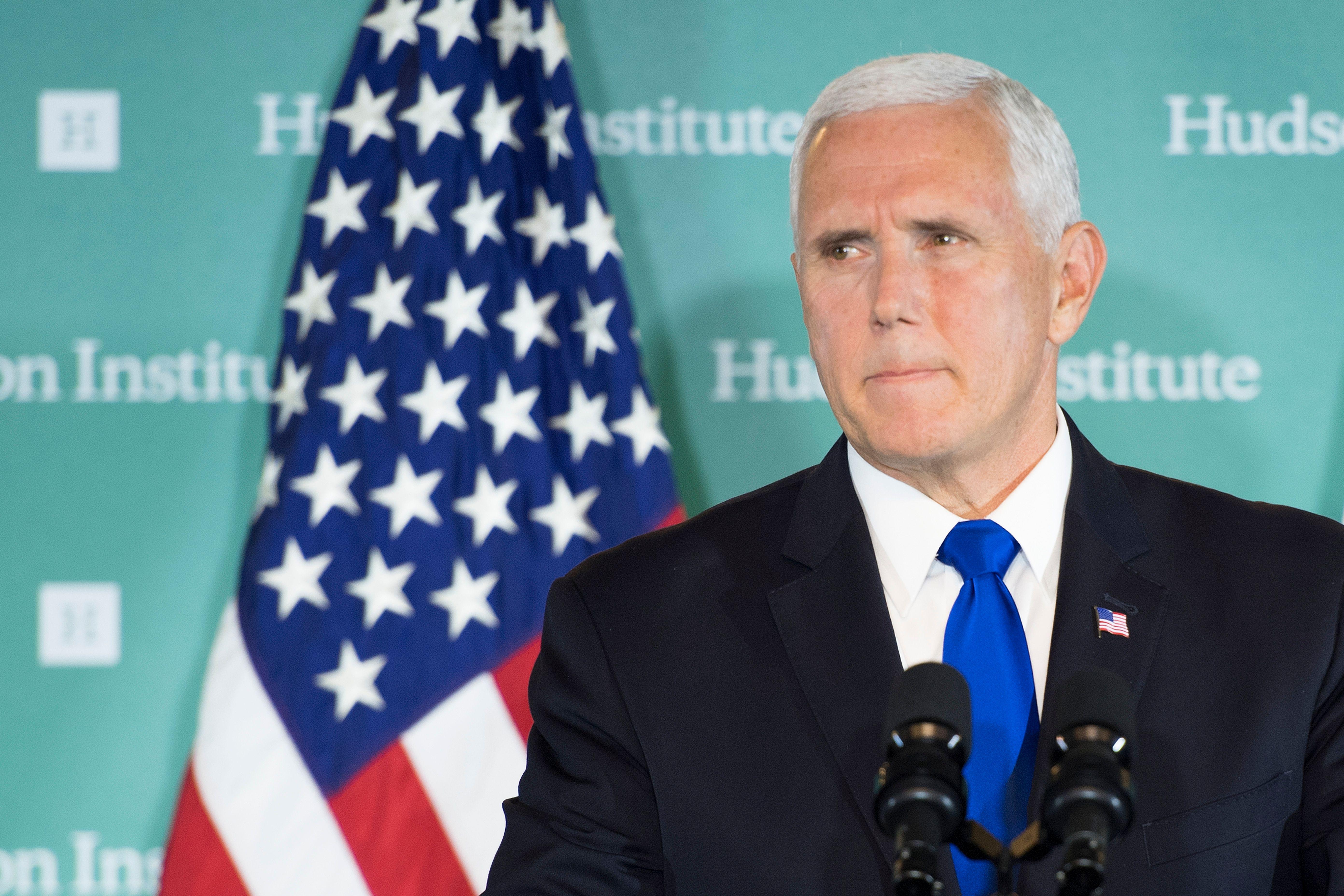 10月4日,美國副總統彭斯在華盛頓智囊哈德遜研究所發表演講,在特朗普聯大演講的基礎上,闡述了白宮對中國的政策。(JIM WATSON/AFP/Getty Images)