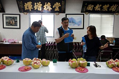 农委会农粮署及花莲区农改场组成评鉴小组正在果品评鉴。