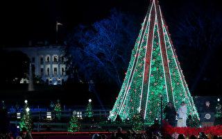 迎接圣诞季 川普携夫人点亮国家圣诞树
