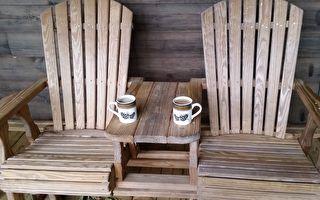 躺椅拉把掉出冷饮 自制木头功能椅夏天好惬意