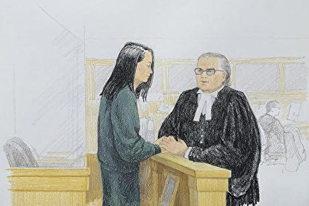華為公司首席財務官孟晚舟在12月10日加拿大卑詩省保釋庭上與她的律師說話。(Jane Wolsak/Jane Wolsak/AFP)