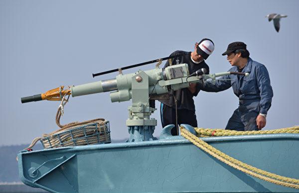 圖為2014年4月26日,日本石卷市一艘捕鯨船上的漁民在檢查捕鯨設備。(KAZUHIRO NOGI / AFP)