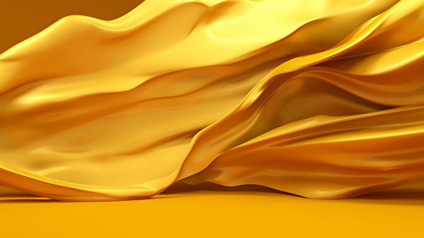 Beautiful golden fabric, developing the wind