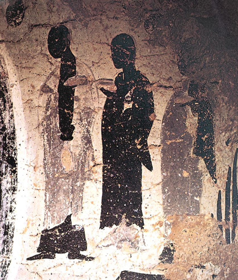 太子妃耶輸陀羅皈依佛門後,成為最早的比丘尼。圖為麥積山石窟北魏壁畫《供養比丘尼》。(公有領域)