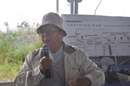 去年獲得第四級工程金質獎的花蓮溪坪林堤段防災減災工程,九河局長顏嚴光在現場做解說。