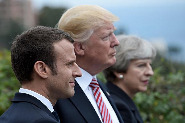 美英法三國首腦對敘利亞化武攻擊表示強烈譴責,決定發動聯合空襲。(AFP PHOTO/STEPHANE DE SAKUTIN)