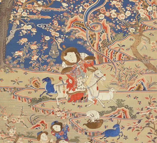 清 乾隆御題 緙絲加繡《九陽消寒圖》清宮舊藏。(公有領域)