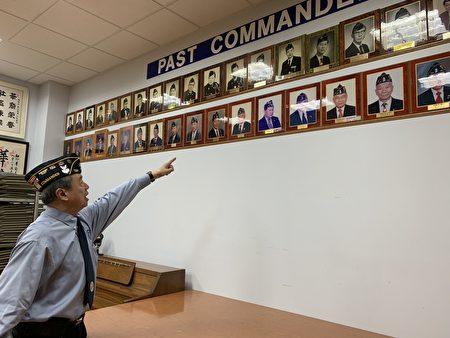 华裔退伍军人会主席朱超然指着墙上的历届主席照片说,早期军人会主席清一色是二战老兵。
