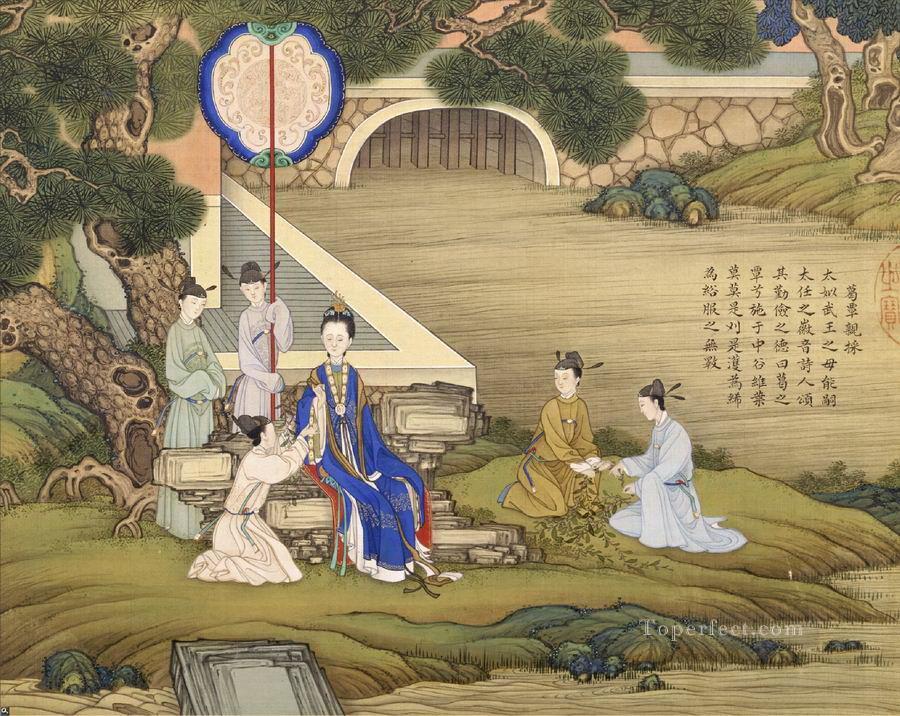 清焦秉貞《歷代賢後圖》冊,絹本,北京故宮博物院藏。(公有領域)