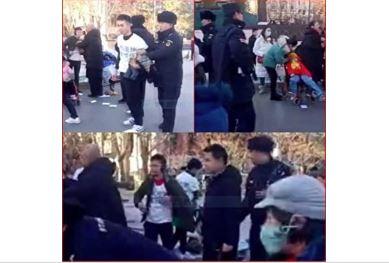12月18日,約17名疫苗受害兒童家長,聚集在北京前門維權抗議,遭到警察驅散抓捕。(受訪者提供)