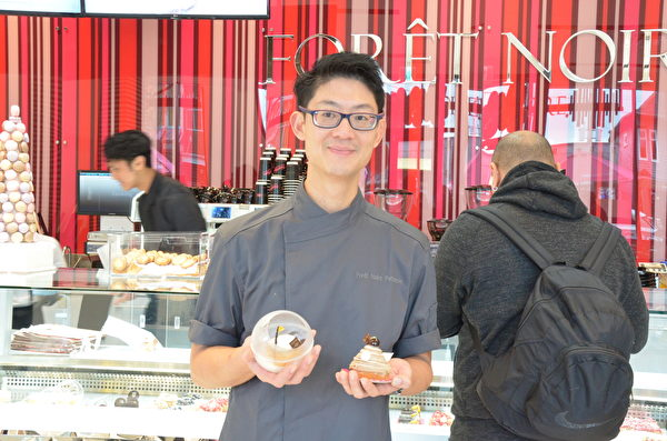 高檔法式糕點店Forêt Noire Pâtisserie進駐溫哥華,主廚Christian Lai在介紹糕點特色。