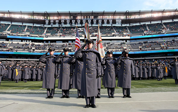 PHILADELPHIA, PENNSYLVANIA - DECEMBER 08:  The Army cadets salute after they marched on the field before the game between the Army Black Knights and the Navy Midshipmen at Lincoln Financial Field on December 08, 2018 in Philadelphia, Pennsylvania. (Photo by Elsa/Getty Images)