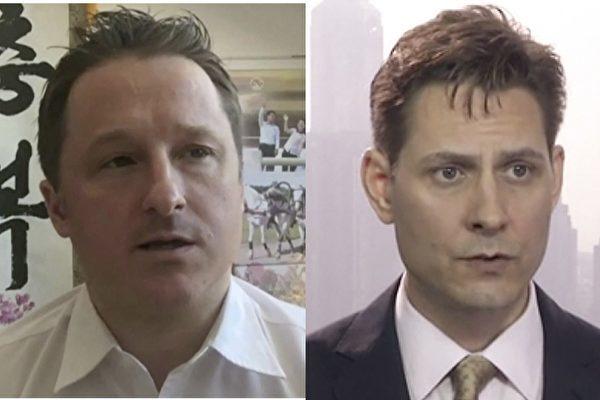 加拿大两位公民被中共抓捕事件持续发酵。加国驻华大使获准和被扣前外交官康明凯(图右)见面。图左为另一被抓的加拿大公民斯派佛(加通社)
