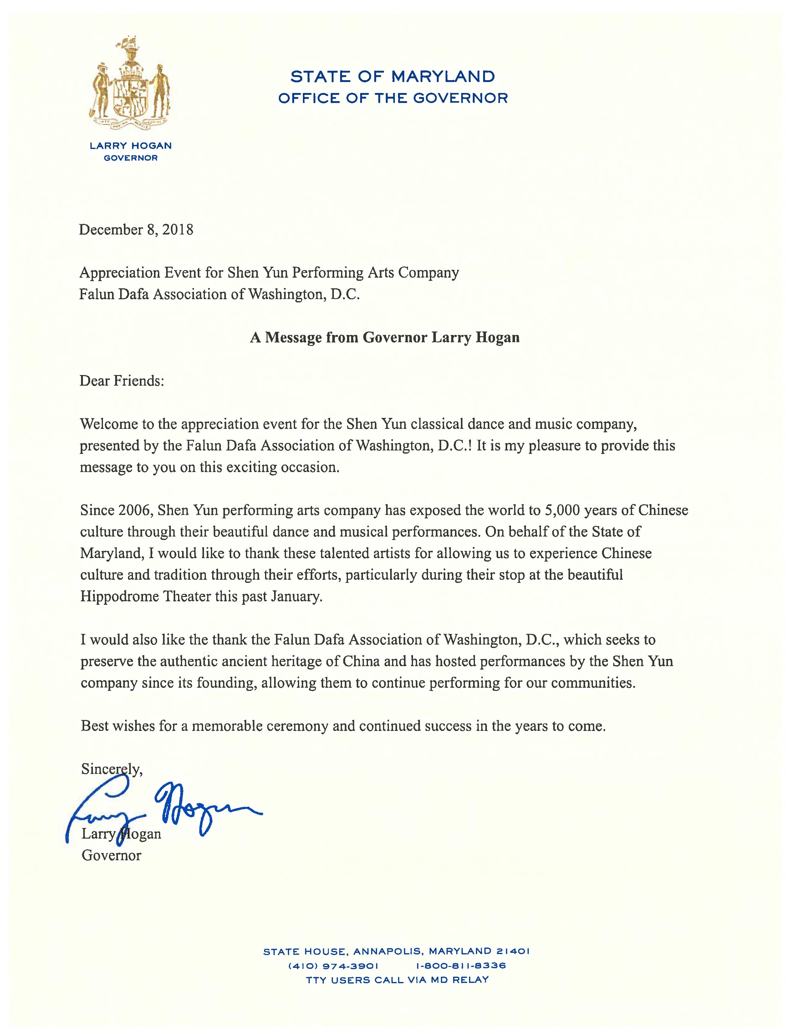 馬里蘭州巴爾的摩演出前夕,馬里蘭州州長Larry Hogan向神韻藝術團發來賀信。(大紀元圖片)