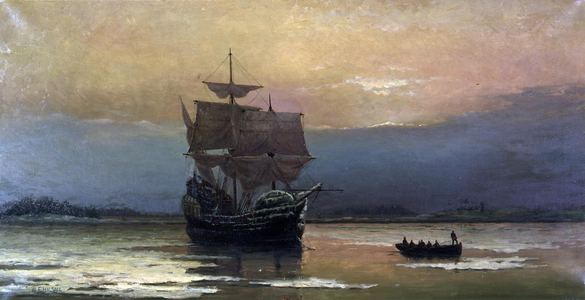 1620年,102名乘客乘坐五月花號木製帆船,到了普利茅斯,定下「普利茅斯公約」。圖為〈五月花號在普利茅斯港〉,William Halsall繪於1882年。(公有領域)