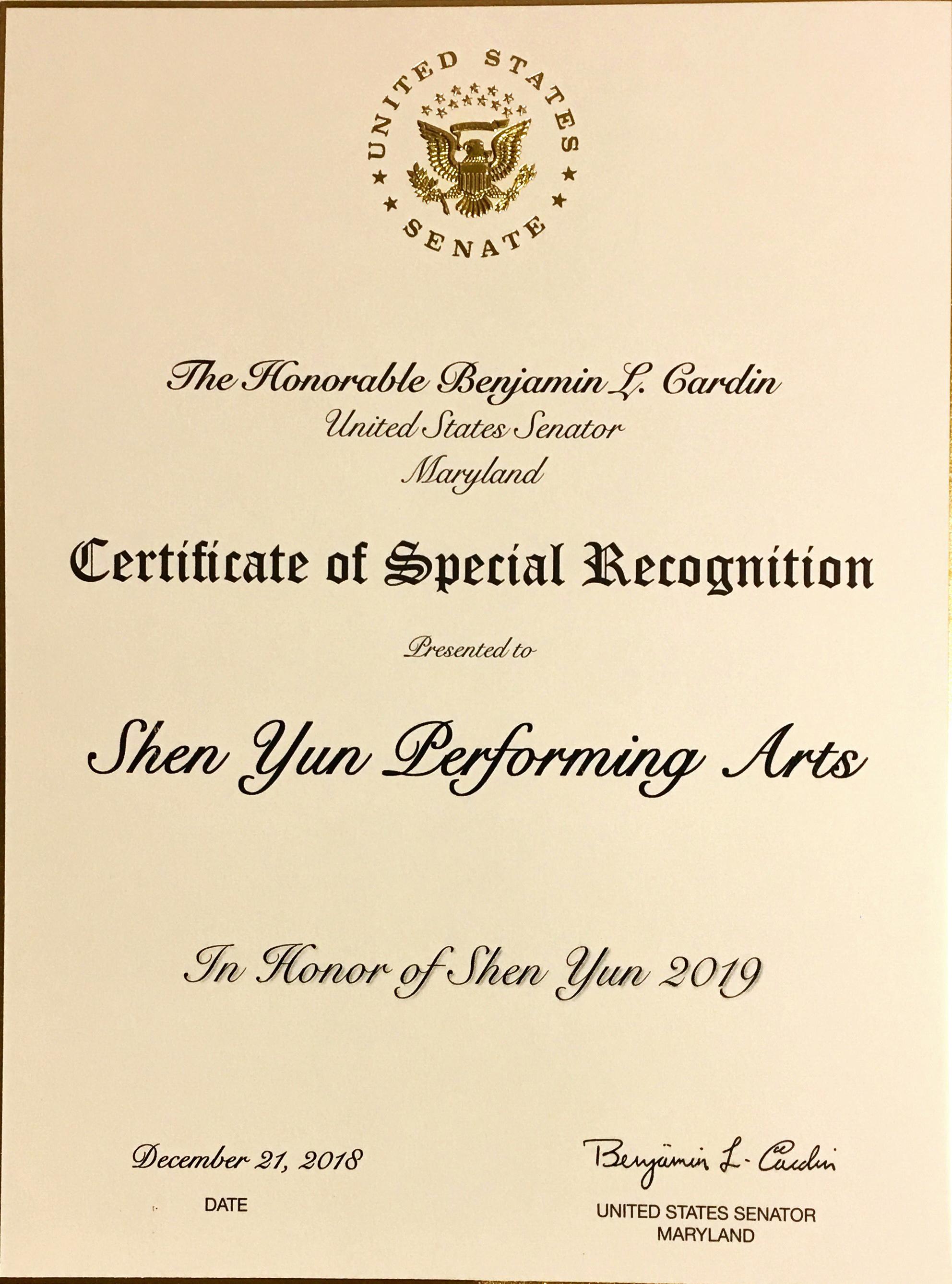 馬里蘭州巴爾的摩演出前夕,馬里蘭州聯邦參議員Benjamin Cardin向神韻藝術團發來的褒獎證書。(大紀元圖片)
