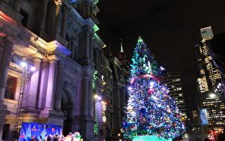 费城举办圣诞树点灯仪式