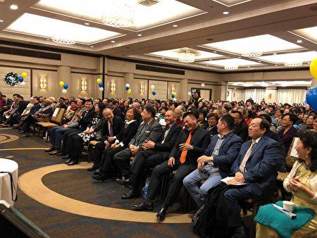 法拉盛獅子會敬老大會,經文處副處長張俊裕及僑團領袖出席。